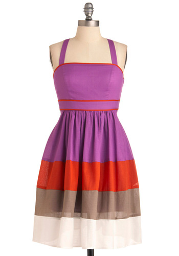 Unique in Nantucket Dress - Mid-length, Purple, A-line, Tank top (2 thick straps), Orange, Brown, White, Trim, Party