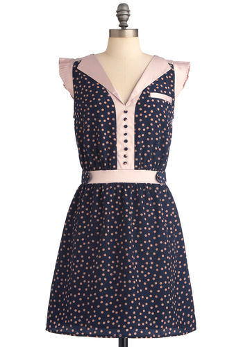 Nicole's Through the Eras Dress - Mid-length, Casual, Vintage Inspired, Pink, Polka Dots, Buttons, Pockets, Sheath / Shift, Cap Sleeves, Blue