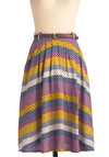Washi and Learn Skirt - Long, Multi, Polka Dots, Braided, Pockets, Yellow, Blue, Purple, Purple, Stripes, Belted