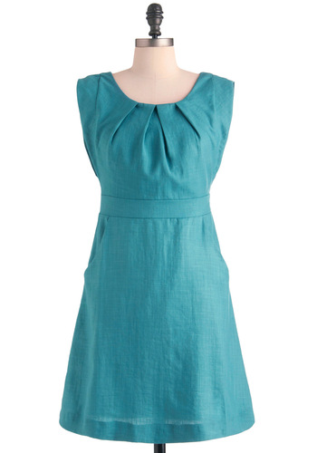 Natural Remedy Dress - Mid-length, Blue, Solid, Bows, Pockets, Shift, Sleeveless, Cocktail