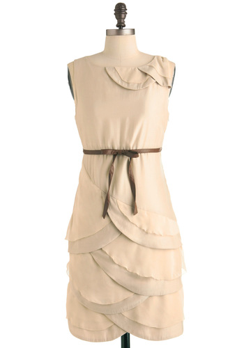 Countryside Brunch Dress - Mid-length, Vintage Inspired, 40s, Brown, Solid, Bows, Scallops, Sheath / Shift, Sleeveless, Cream, Tiered