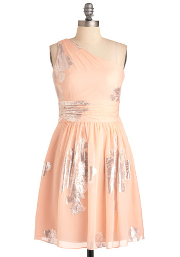 Cause Quite a Sterling Dress - Silver, Floral, A-line, One Shoulder, Wedding, Orange, Party, Mid-length