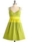 Quick Visit Dress in Green - Mid-length, Green, Pockets, A-line, Spaghetti Straps, Yellow, Cutout, Party, Spring