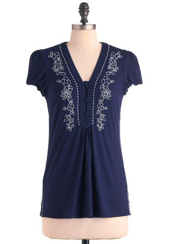 Strike a Yoga Pose Top - Mid-length, Blue, White, Embroidery, Cap Sleeves, Casual, Boho