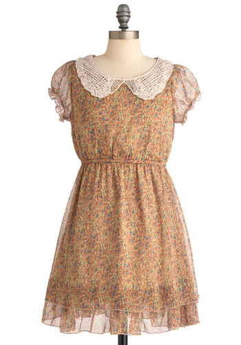 Heart to Heartland Dress - Mid-length, Casual, Vintage Inspired, Tan, Multi, Floral, Lace, Peter Pan Collar, A-line, Cap Sleeves, Sheer, Collared