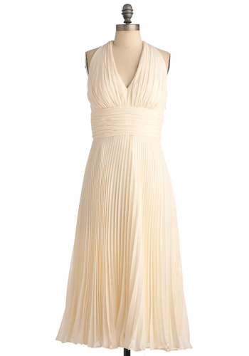 University of Marilyn Dress in Cream - Special Occasion, Prom, Wedding, Vintage Inspired, Cream, Solid, Ruffles, Empire, Halter, Pleats, White, Pinup, 50s, Bride, Long