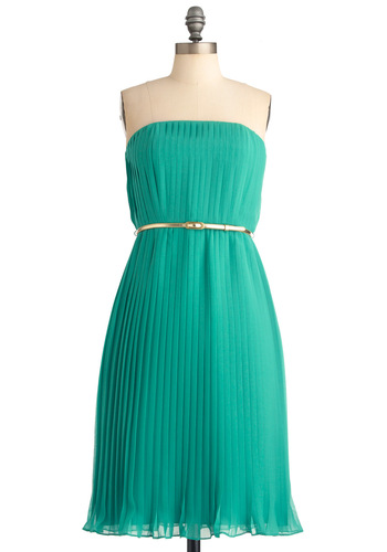 Let's Ver-dance Dress - Green, Solid, Pleats, Sheath / Shift, Strapless, Gold, Formal, Wedding, Long