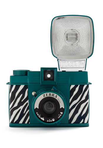 Diana F+ Camera in Zebra by Lomography - Green, Black, White, Animal Print, Travel
