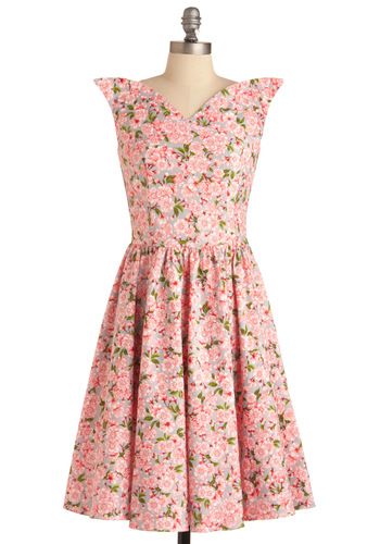 Wizard of Awesome Dress in Dogwood by Bernie Dexter - Wedding, Party, Vintage Inspired, Pink, Floral, Pleats, A-line, Cap Sleeves, Brown, Tan / Cream, Spring, Long