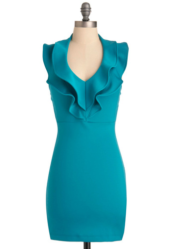 Polished in Pasadena Dress - Mid-length, Blue, Solid, Ruffles, Sheath / Shift, Sleeveless, Tiered, Party, Summer, Backless