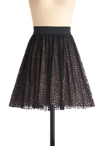 Welcome to the Night Club Skirt - Urban, Black, Multi, Tan / Cream, Polka Dots, Party, Mid-length