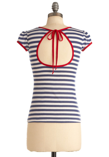 I Love You, I Love You Nautical Top - Casual, Nautical, Blue, Red, Stripes, Bows, Cutout, Trim, Short Sleeves, White, Pinup, Mid-length