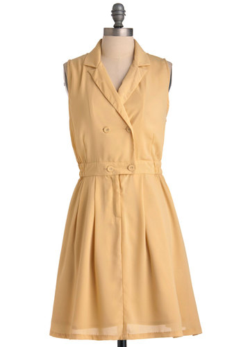 The Necessity of Style Dress - Mid-length, Safari, Vintage Inspired, Yellow, Solid, Buttons, Pleats, A-line, Sleeveless, Casual, Nautical, Spring