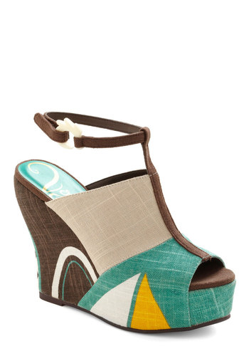 All Shapes and Sizes Wedge - Casual, Vintage Inspired, 70s, Brown, Multi, Yellow, Green, Tan / Cream, White, Buckles, Wedge