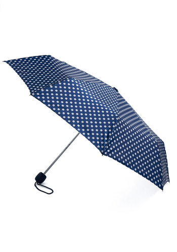 Beach Bumbershoot Umbrella in Navy - Blue, White, Polka Dots