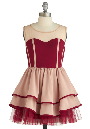 Sample 1477 - Red, Cream, Ballerina / Tutu, Sleeveless