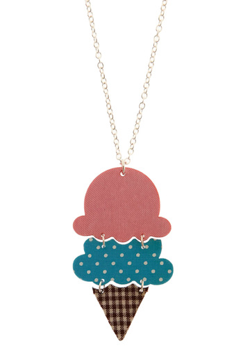 Get the Scoop Necklace - Multi, Blue, Pink, Brown, White, Polka Dots, Plaid, Party, Work, Casual