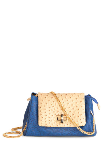 Girls' Night Outback Bag - Tan / Cream, Gold, Buckles, Chain, Pockets, Blue