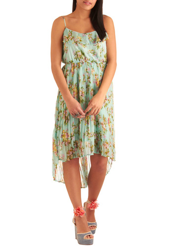 Roof Garden Party Dress - Long, Green, Multi, Yellow, Purple, Pink, Floral, Pleats, Ruffles, Casual, Sheath / Shift, Spaghetti Straps, Spring