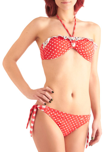 Beach Cottage Two Piece - Pinup, Red, White, Multi, Checkered / Gingham, Floral, Ruffles, Halter, Polka Dots, Summer, Beach/Resort