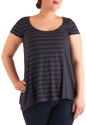 In the Morning Tunic in Plus Size - Casual, Urban, Grey, Stripes, Short Sleeves, Blue