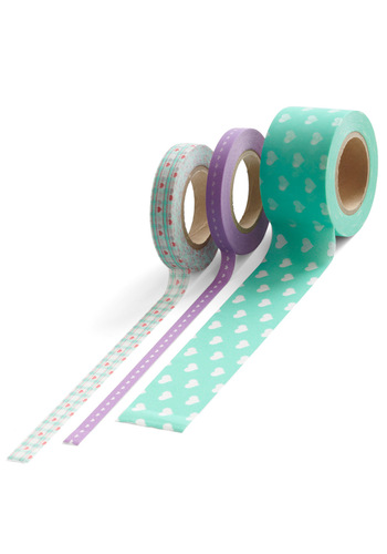 Stuck on You Paper Tape Set - Green, Blue, Purple, Novelty Print