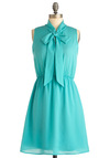 Lakeside Brunch Dress - Mid-length, Green, Solid, Bows, Casual, A-line, Sleeveless, Spring