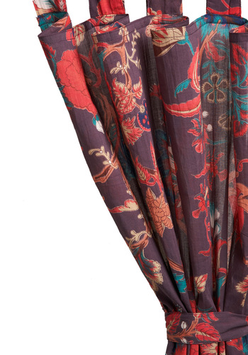 Tropical Twilight Curtain by Karma Living - Purple, Red, Orange, Blue, Floral, Dorm Decor, Cotton, Coral