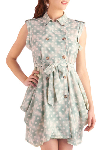 Bokeh by Me Dress - Mid-length, Green, White, Polka Dots, Buttons, Pleats, Pockets, Casual, A-line, Sleeveless, Spring