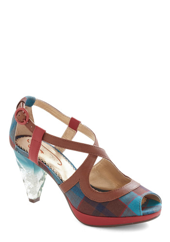 Need I Say Amour Heel in Plaid by Poetic License - Multi, Plaid, 50s
