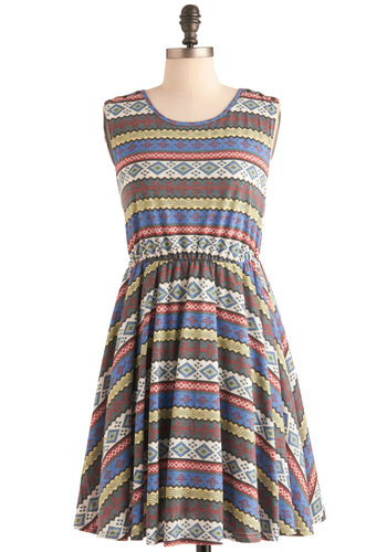 Sunny Days Are Forever Dress - Mid-length, Multi, Print, Buttons, Pleats, A-line, Sleeveless, Casual, Multi, Folk Art