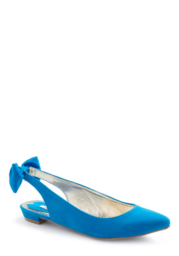 No Bows About It Flats - Vintage Inspired, Blue, Bows
