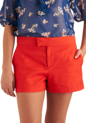 Prep for Anything Shorts by BB Dakota - Casual, Urban, Red, Solid, Pockets, Short