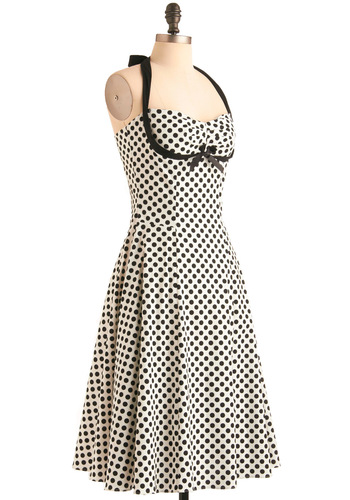 Dot to Have It Dress by Bernie Dexter - Long, Party, Rockabilly, Black, White, Polka Dots, Bows, Vintage Inspired, 50s, A-line, Halter