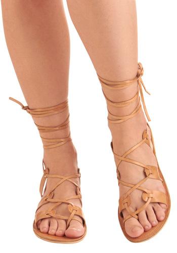 Kick Back Sandal - Tan, Solid, Bows, Casual, Boho, Summer