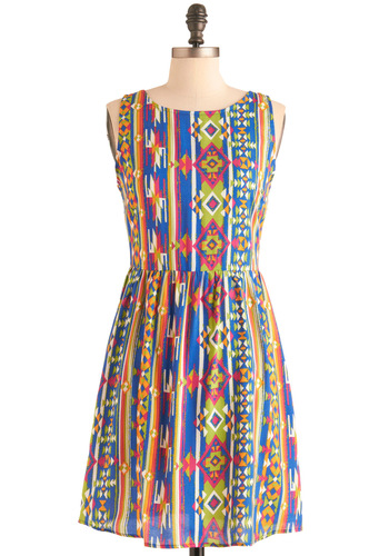 Sunlight and Sizzle Dress - Mid-length, Multi, Orange, Green, Blue, Pink, White, Print, Backless, Casual, Sheath / Shift, Sleeveless, Summer