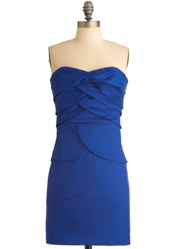 Intertwine and Cheese Party Dress - Party, Blue, Solid, Tiered, Mini, Shift, Strapless, Short, Cocktail, Girls Night Out, Satin, Sweetheart