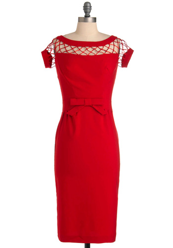 Oui Mon Cheri Dress in Cherry by Bettie Page - Long, Formal, Wedding, Party, Rockabilly, Pinup, Vintage Inspired, 50s, 60s, Red, Solid, Crochet, Sheath / Shift, Short Sleeves