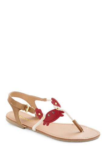 Walk Like a Crustacean Sandal - Casual, Nautical, Statement, Red, White, Summer, Flat