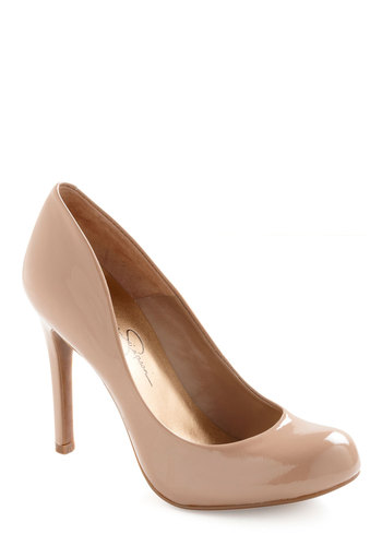 Wishing and Hoping Heel in Taupe - Work, Vintage Inspired, Tan, Solid, Party, Leather, High, Variation