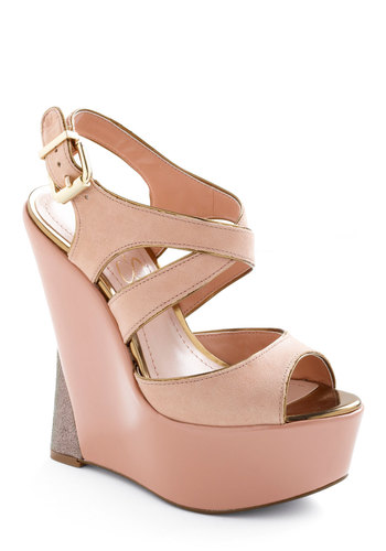 Makes Me Blush Wedge - Special Occasion, Party, Vintage Inspired, Pink, Solid, Wedge