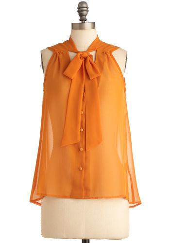 Easy Squeeze-y Top - Mid-length, Orange, Solid, Bows, Buttons, Casual, Sleeveless