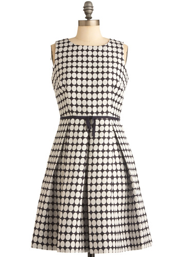 Atta Pearl Dress - Work, Blue, White, Polka Dots, Bows, Pleats, Pockets, Nautical, A-line, Sleeveless, Mid-length