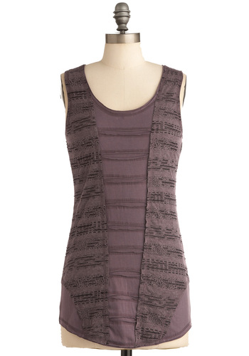 Tide and True Top in Violet - Casual, Purple, Solid, Crochet, Sleeveless, Long