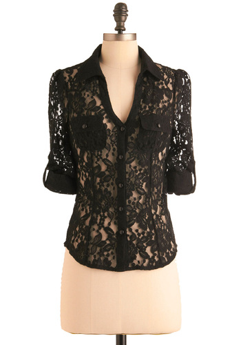 Garden Shadows Top - Short, Casual, Urban, Black, Floral, Lace, Pockets, Long Sleeve, Buttons, 3/4 Sleeve