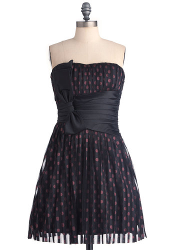 Rock Ballet Dress - Prom, Black, Red, Polka Dots, Bows, Pleats, A-line, Mini, Strapless, Mid-length