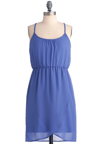 Lavender Days Dress - Mid-length, Casual, Purple, Solid, Sheath / Shift, Spaghetti Straps