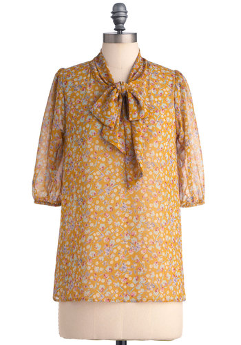 Des Colores Top in Sheer Mustard - Mid-length, Work, Yellow, Multi, Blue, Purple, Pink, Floral, Bows, 3/4 Sleeve