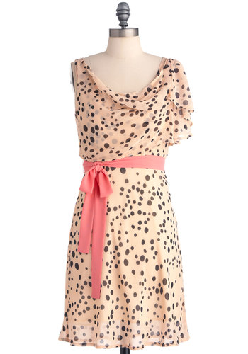 Love You a Blot Dress - Mid-length, Pink, Black, Polka Dots, Ruffles, Party, Sheath / Shift, Short Sleeves, Belted, Sheer, Cowl, Daytime Party, Tis the Season Sale