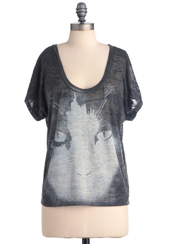 Dream Cat-cher Top - Mid-length, Casual, Black, White, Short Sleeves, Print with Animals, Jersey, Scoop